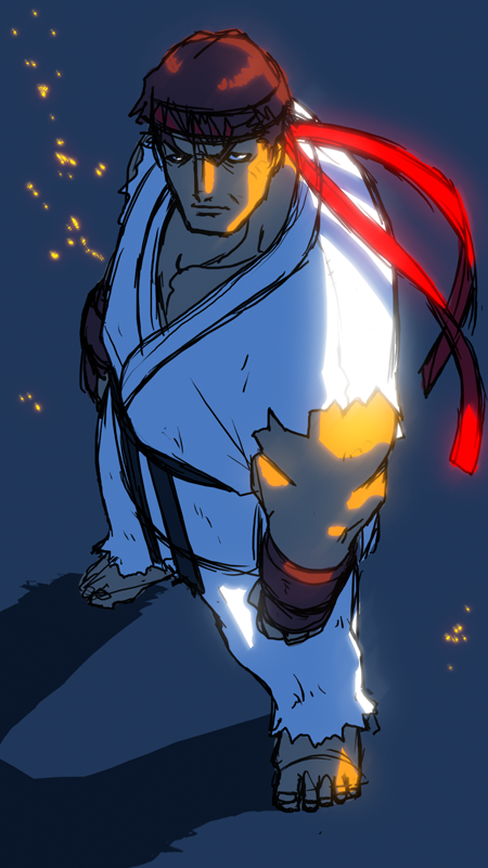 art, sketch, doodle, anime, street fighter, ryu